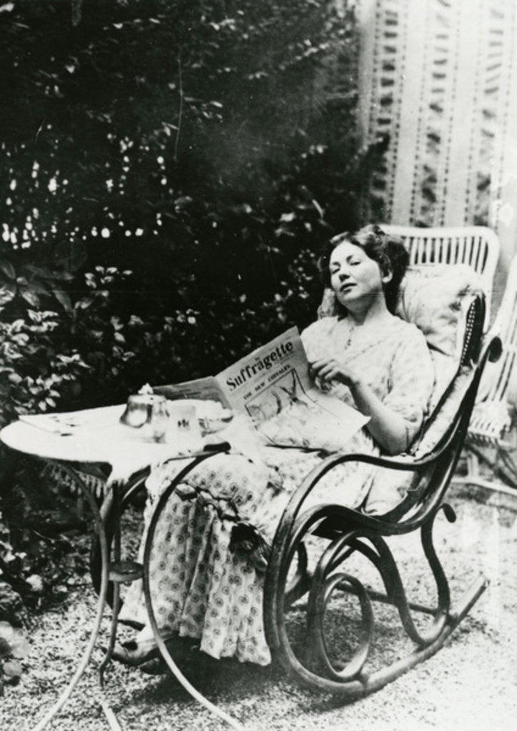 Detail of Christabel Pankhurst reading a copy of 'The Suffragette' by English Photographer