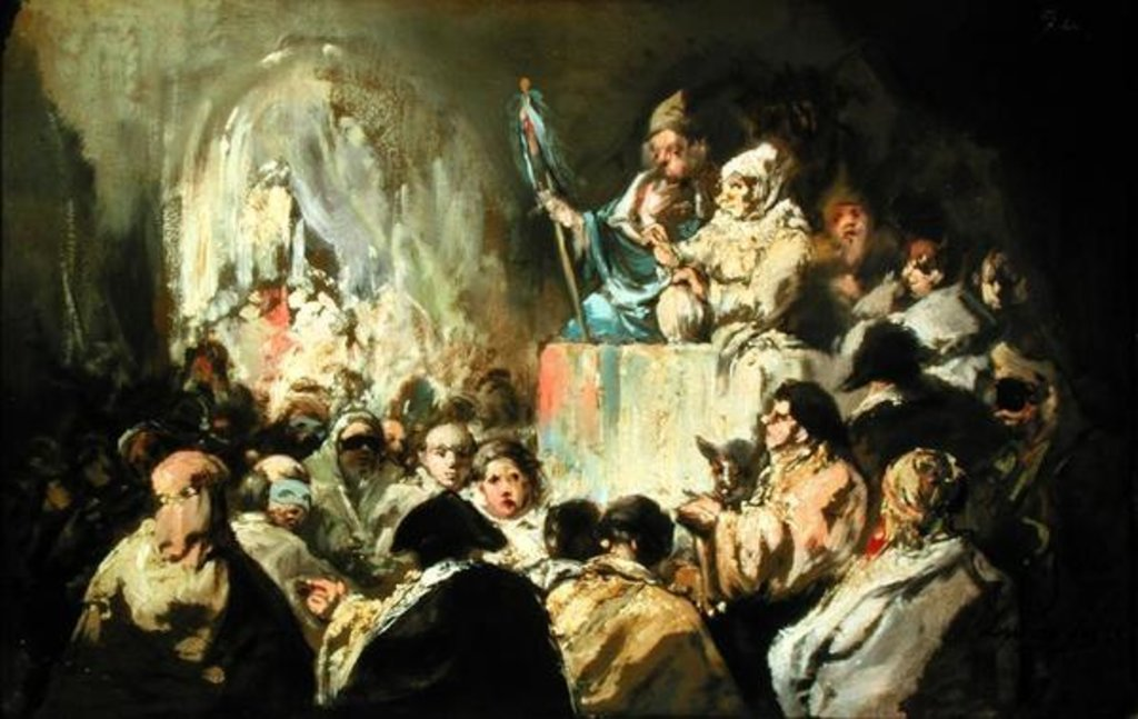 Detail of Addressing a Masked Crowd by Eugenio Lucas y Padilla