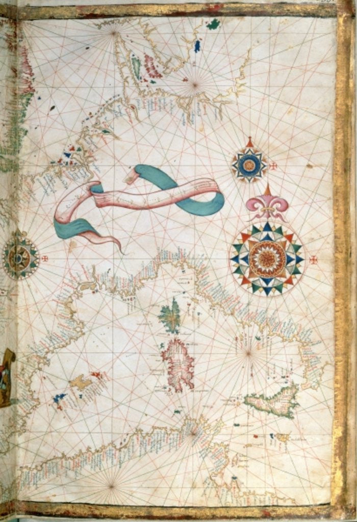 Detail of Corsica, Sardinia and Sicily, detail from a world atlas by Diego Homen