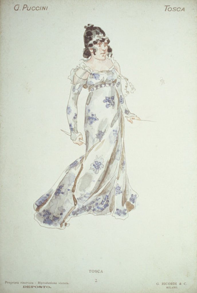 Detail of Costume design in 'Tosca' by Giacomo Puccini by Adolfo Hohenstein
