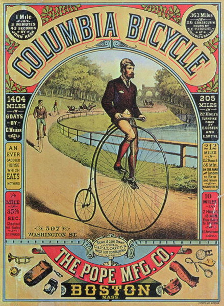 Detail of Advert for the Columbia Bicycle by The Pope MFG Co., Boston by American School