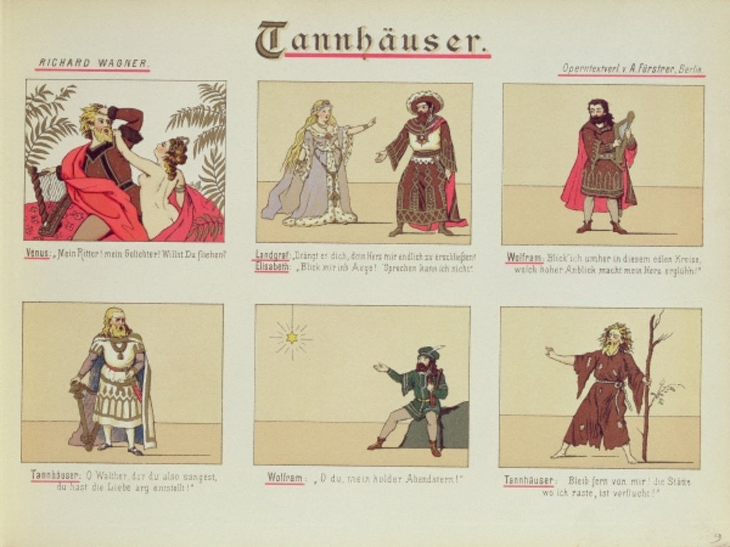Detail of Six scenes relating to the opera 'Tannhauser' by Richard Wagner by German School