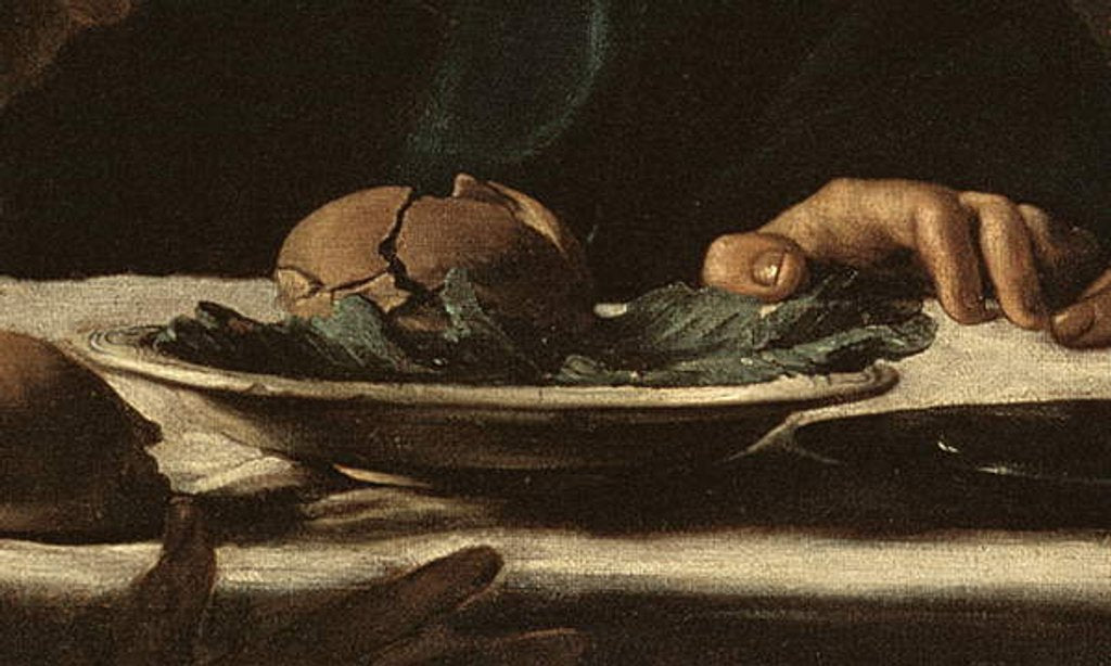 Detail of dish from Supper at Emmaus, 1606 by Michelangelo Merisi da Caravaggio