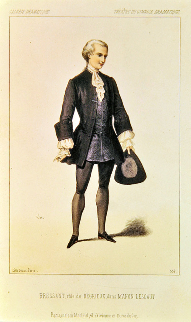 Bressant in the role of Degrieux in the opera 'Manon Lescaut' by Giacomo Puccini