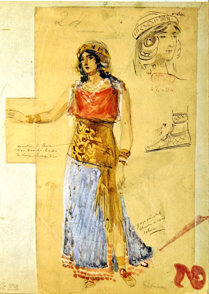 Costume design for the role of Isolde in the opera 'Tristan und Isolde' by Richard Wagner