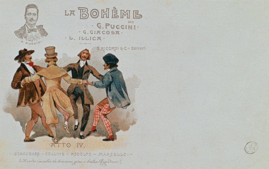 Detail of Commemorative Postcard of the opera 'La Boheme', by Giacomo Puccini by Italian School