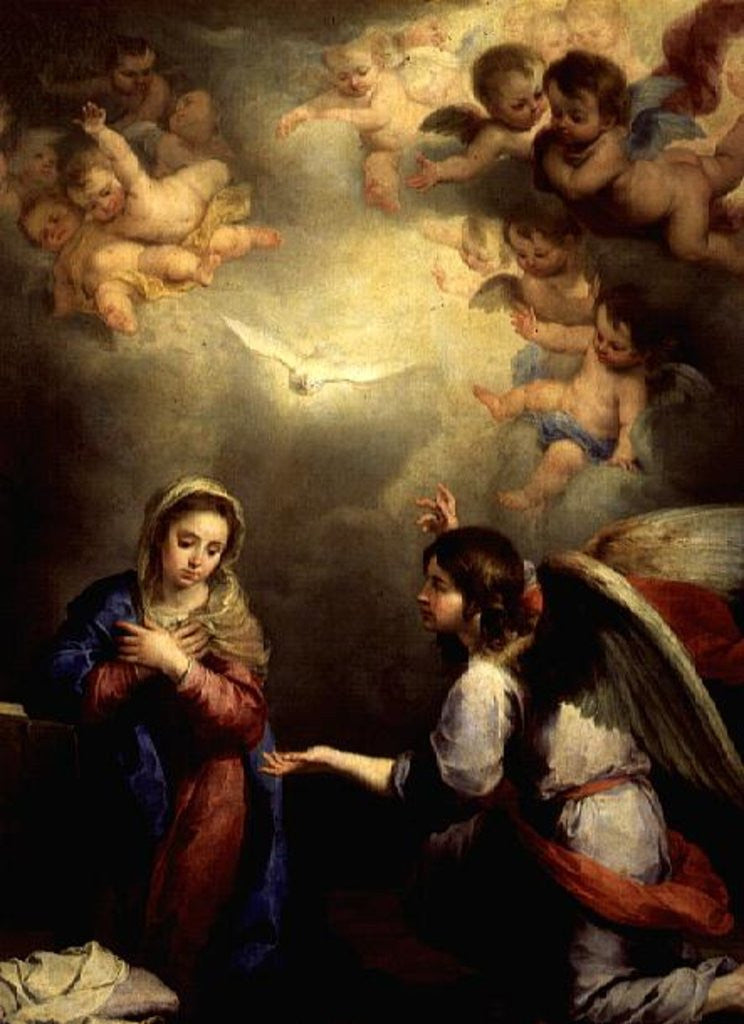Detail of The Annunciation, 17th century by Bartolome Esteban Murillo