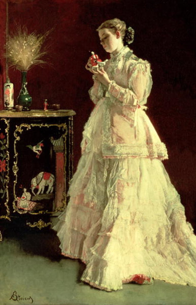 Detail of The Lady in Pink by Alfred Emile Stevens