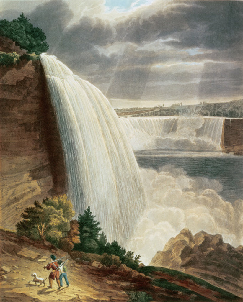Detail of Niagara Falls, part of the American Fall from the Foot of the Stair Case, engraved by J. Hill by H.J. Bennett
