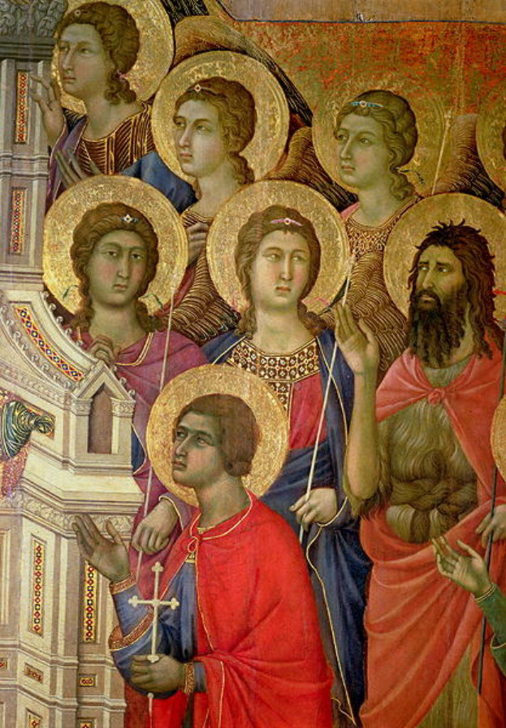 Detail of Maesta: Detail of Saints, including St. John the Baptist by Duccio di Buoninsegna