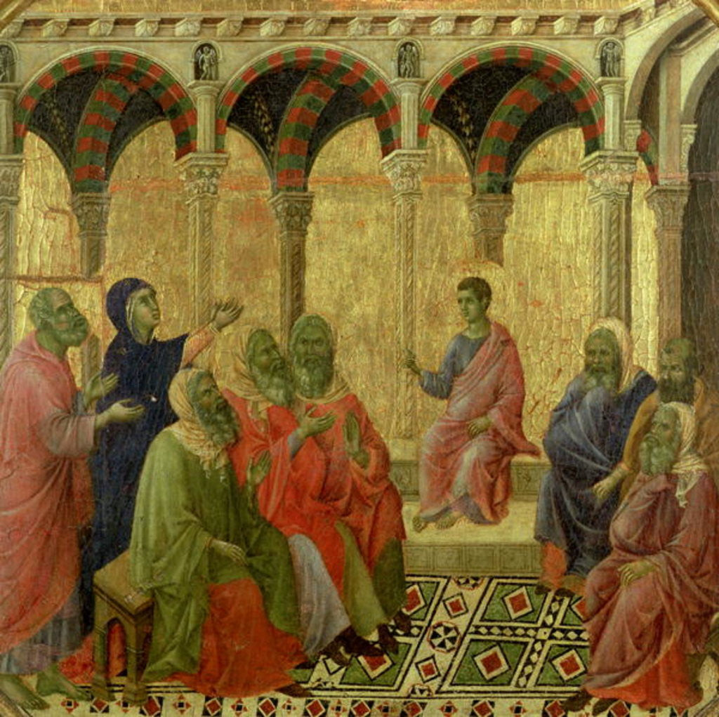 Detail of Maesta: Christ Among the Doctors by Duccio di Buoninsegna