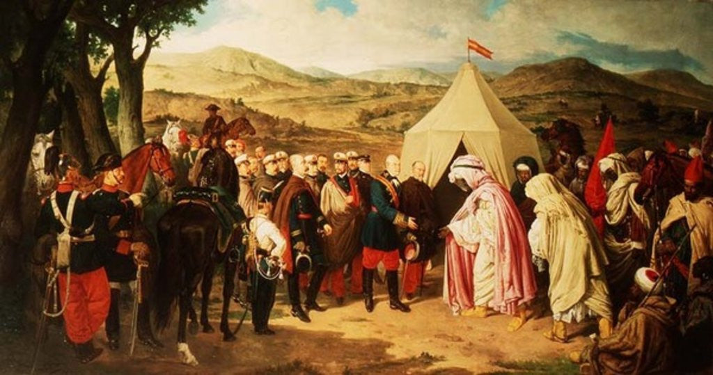 Detail of The Spanish meet with the Moroccans to negotiate a Peace Settlement by Joachin Dominguez Becquer