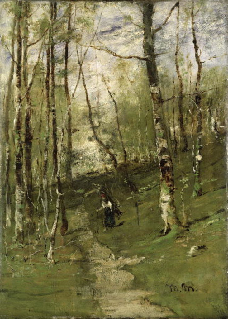 Detail of In the Barbizon Woods in 1875 by Mihaly Munkacsy