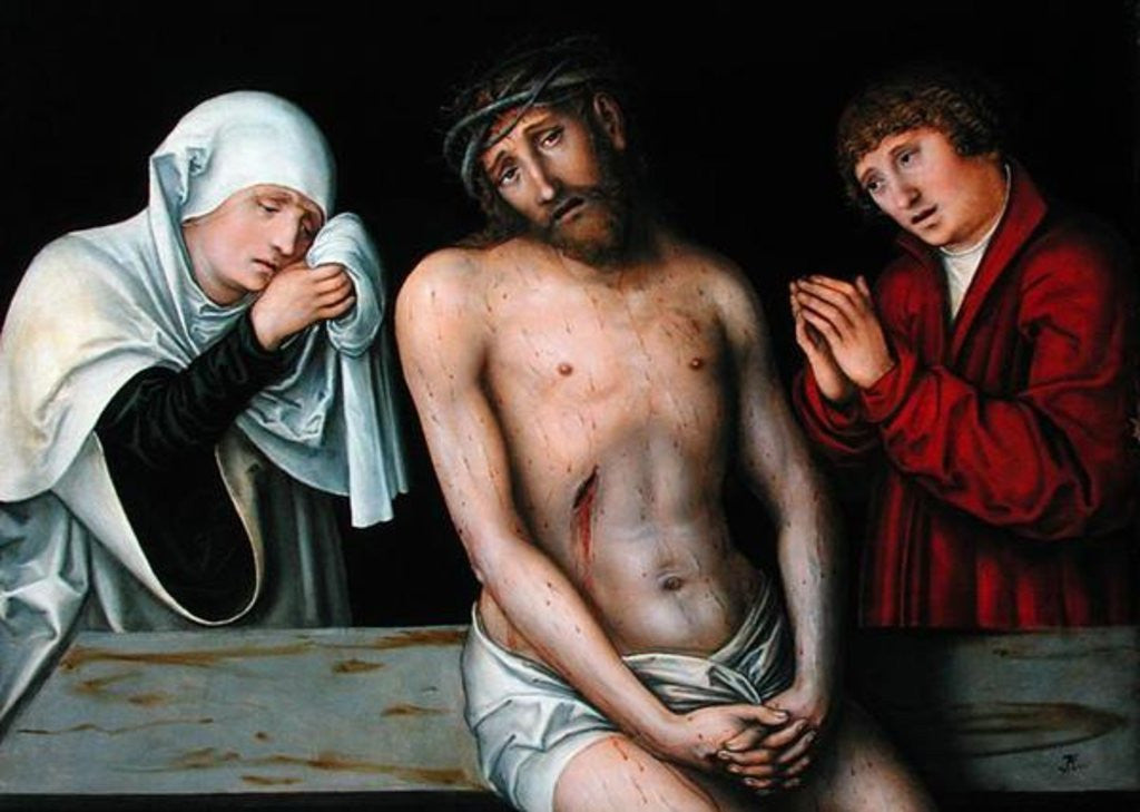 Detail of Christ as the Man of Sorrows with the Virgin and St. John by Lucas