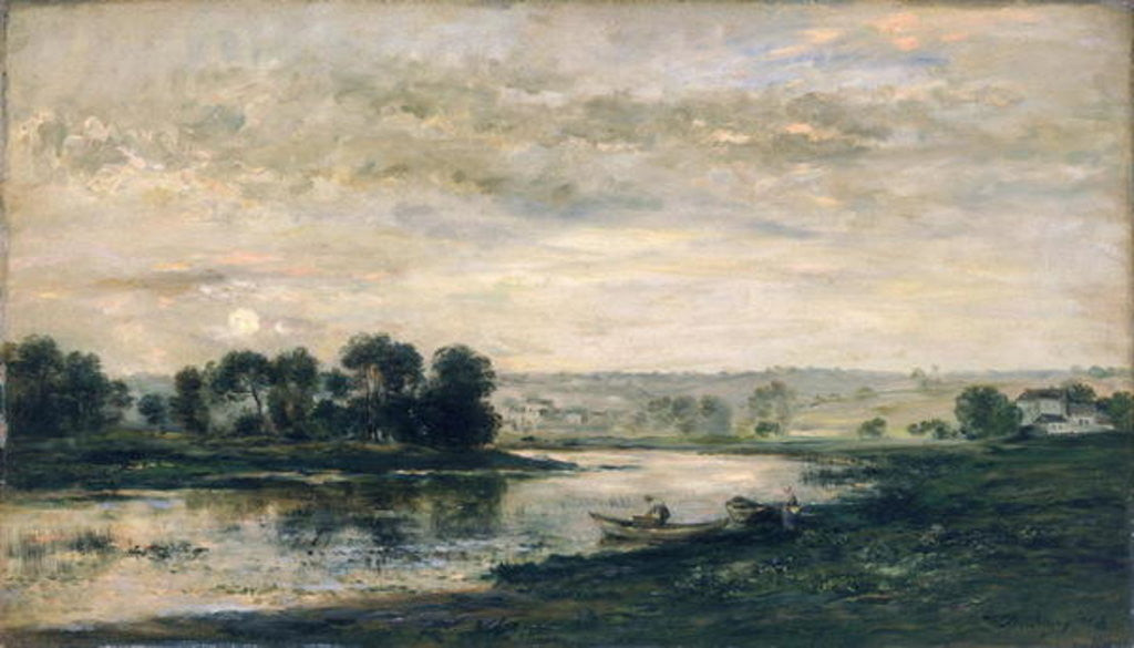 Detail of Evening on the Oise by Charles Francois Daubigny