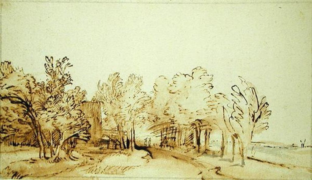 Detail of Avenue with a footpath and a farmhouse on the left by Rembrandt Harmensz. van Rijn