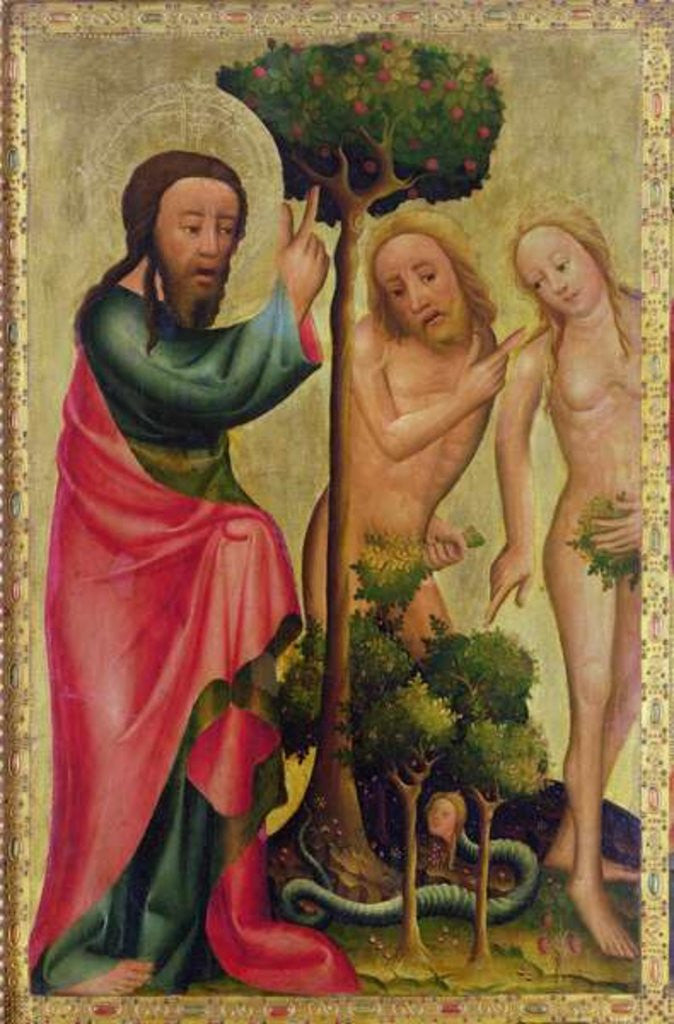 Detail of God the Father Punishes Adam and Eve, detail from the Grabow Altarpiece by Master Bertram of Minden