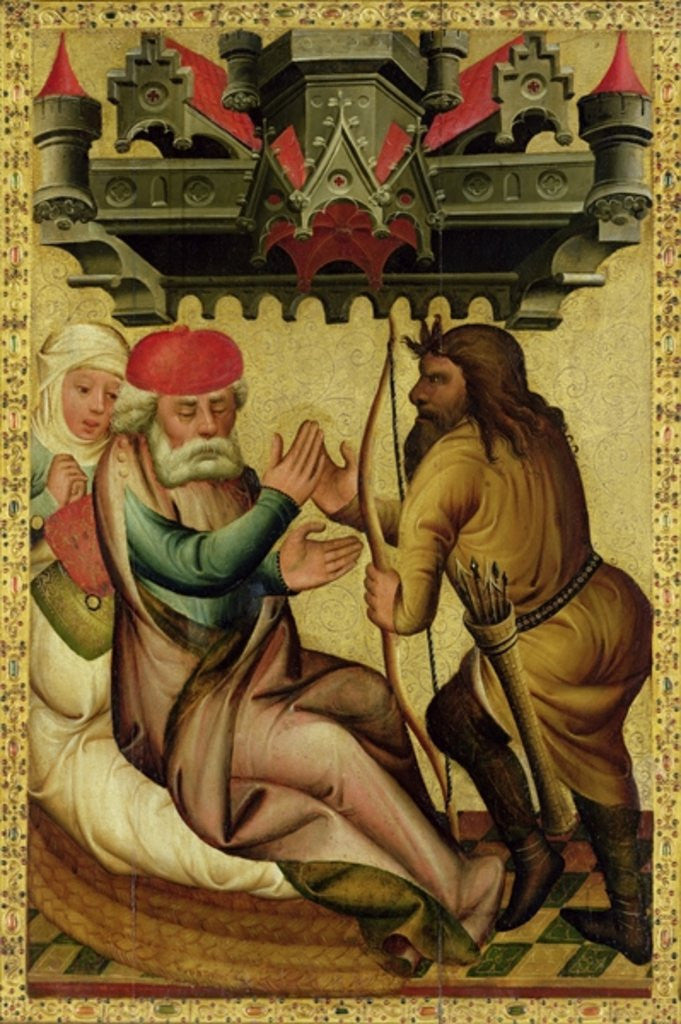 Detail of Isaac and Esau from the High Altar of St. Peter's in Hamburg, the Grabower Altar by Master Bertram of Minden
