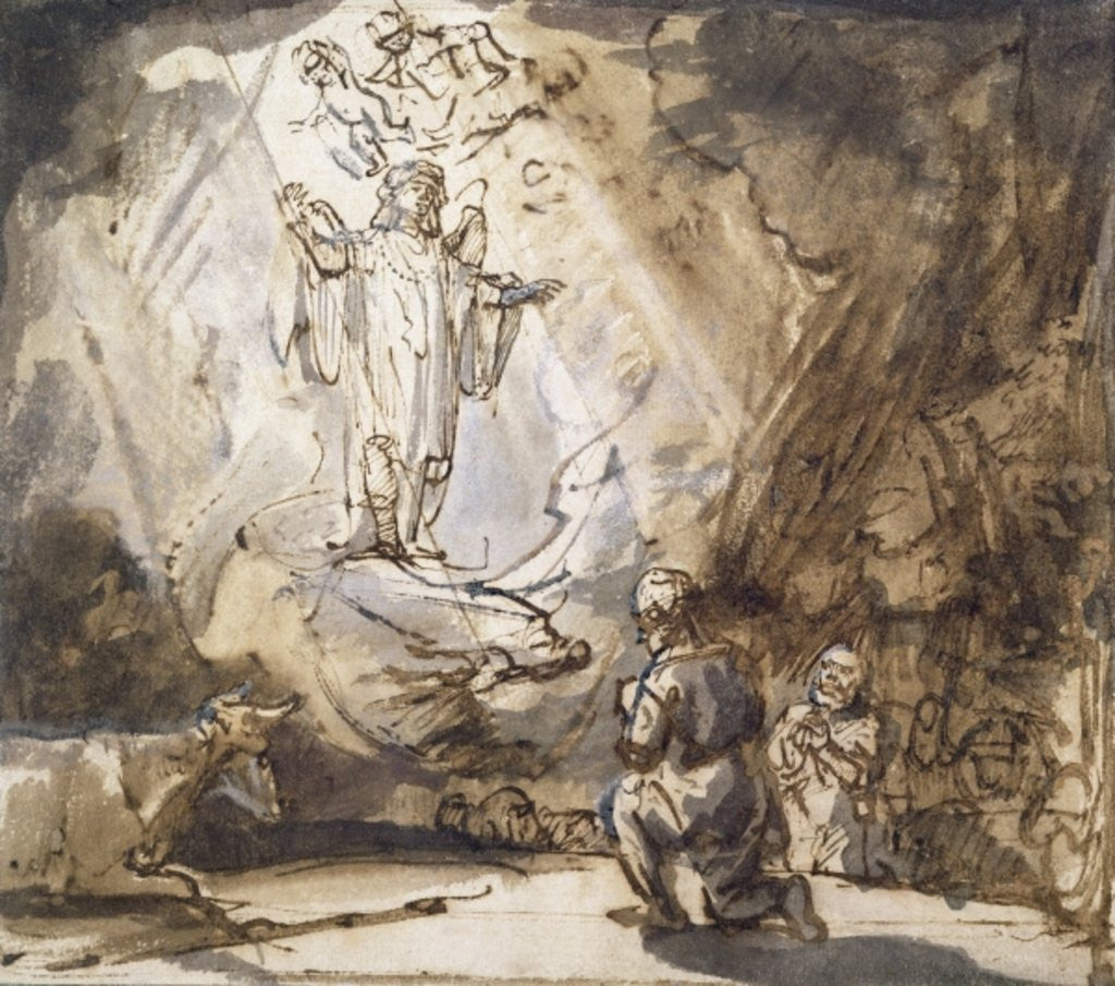 Detail of Annunciation to the Shepherds by Rembrandt Harmensz. van Rijn