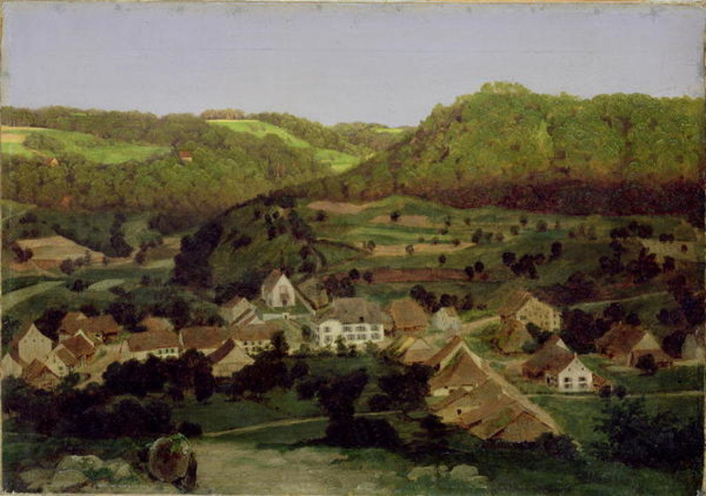 Detail of A View of the Village of Tenniken by Arnold Bocklin