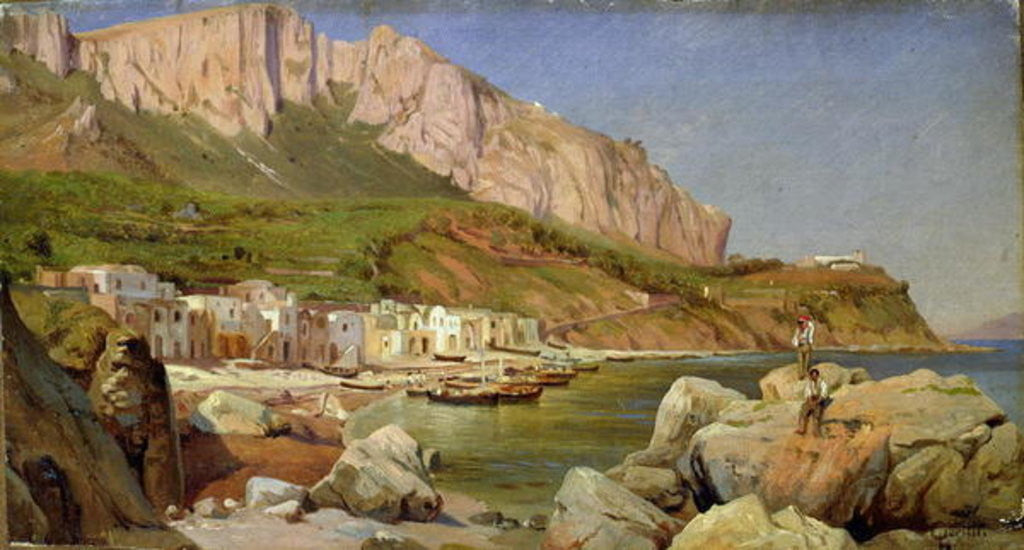 Detail of A Fishing Village at Capri by Louis Gurlitt