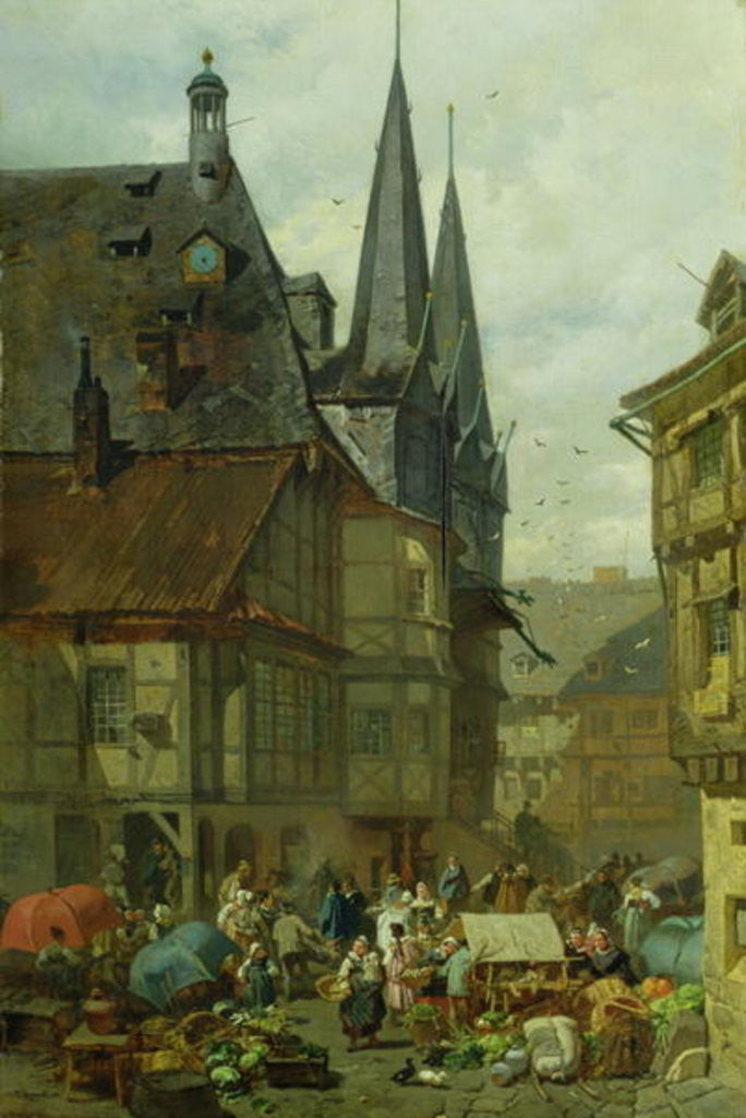 Detail of The Marketplace in Wernigerode by Charles Hoguet
