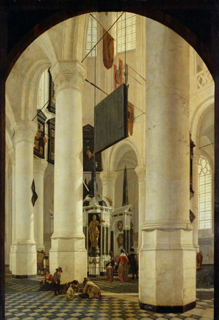 Detail of Interior of the Nieuwe Kerk in Delft with the Tomb of William the Silent by Gerrit Houckgeest