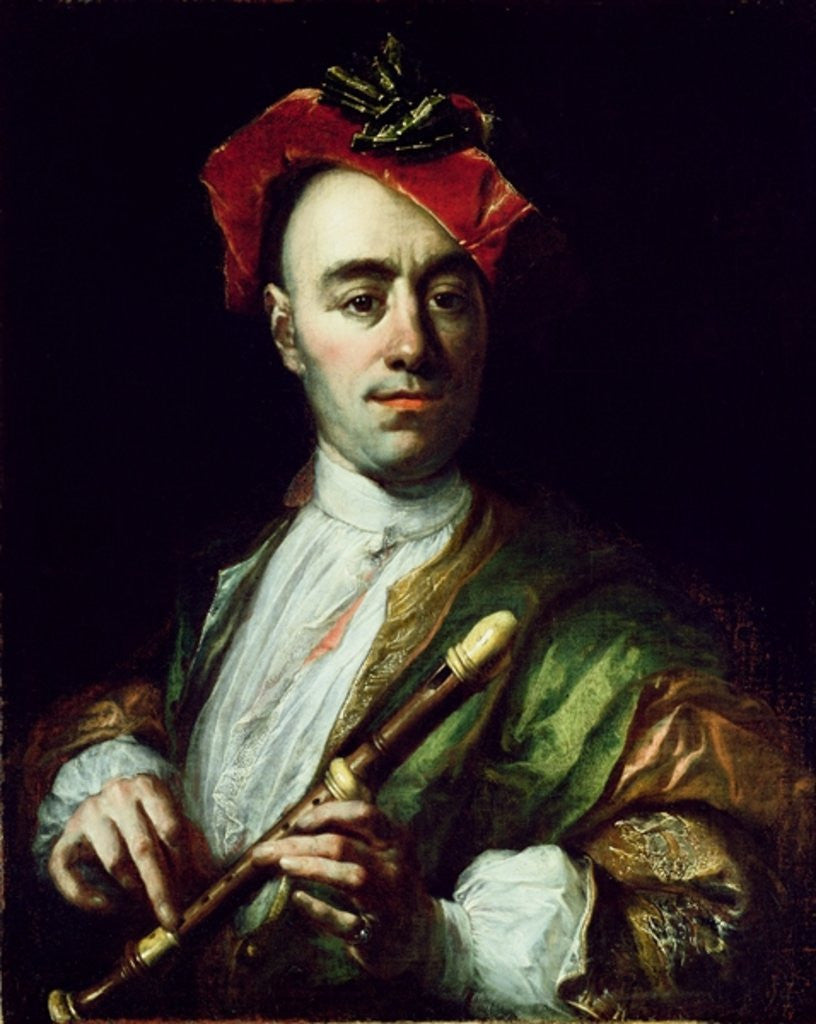 Detail of Portrait of a Recorder Player by Johann Kupezky or Kupetzky