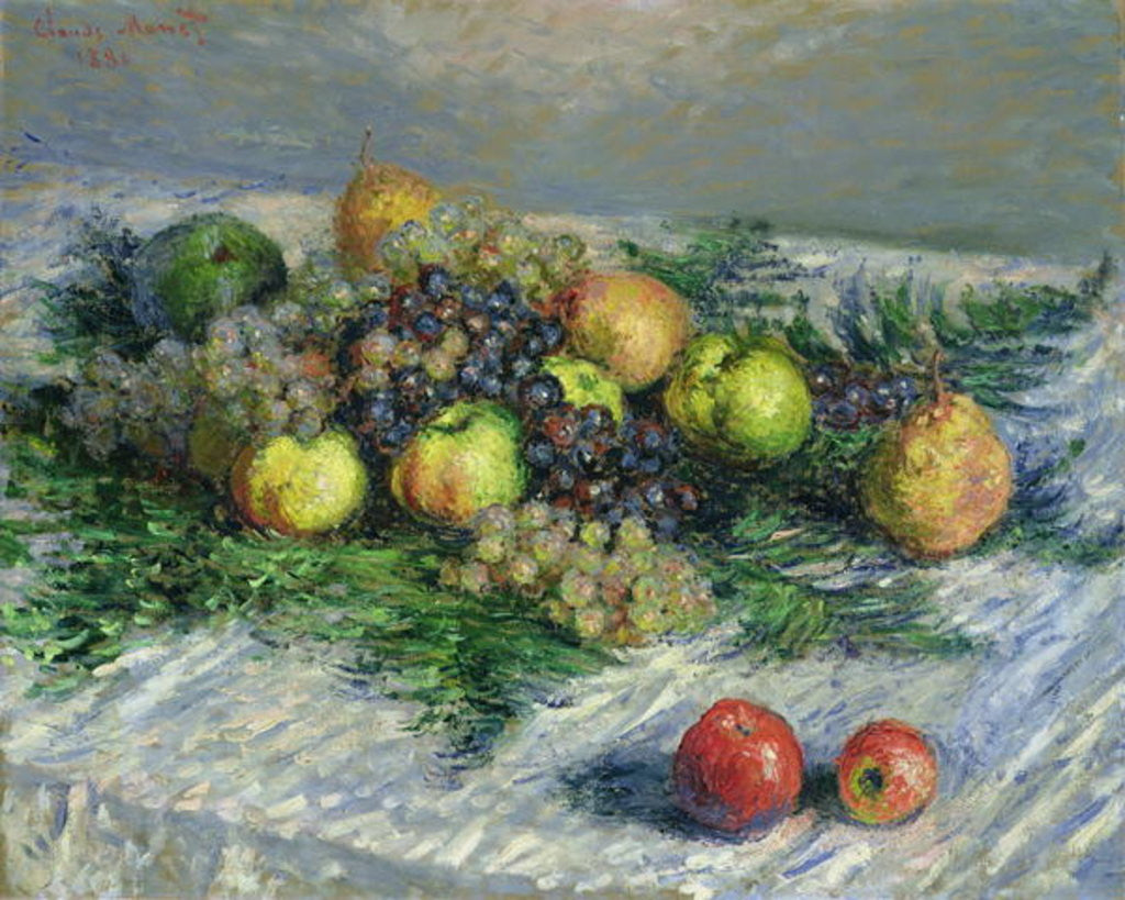 Detail of Still Life with Pears and Grapes by Claude Monet