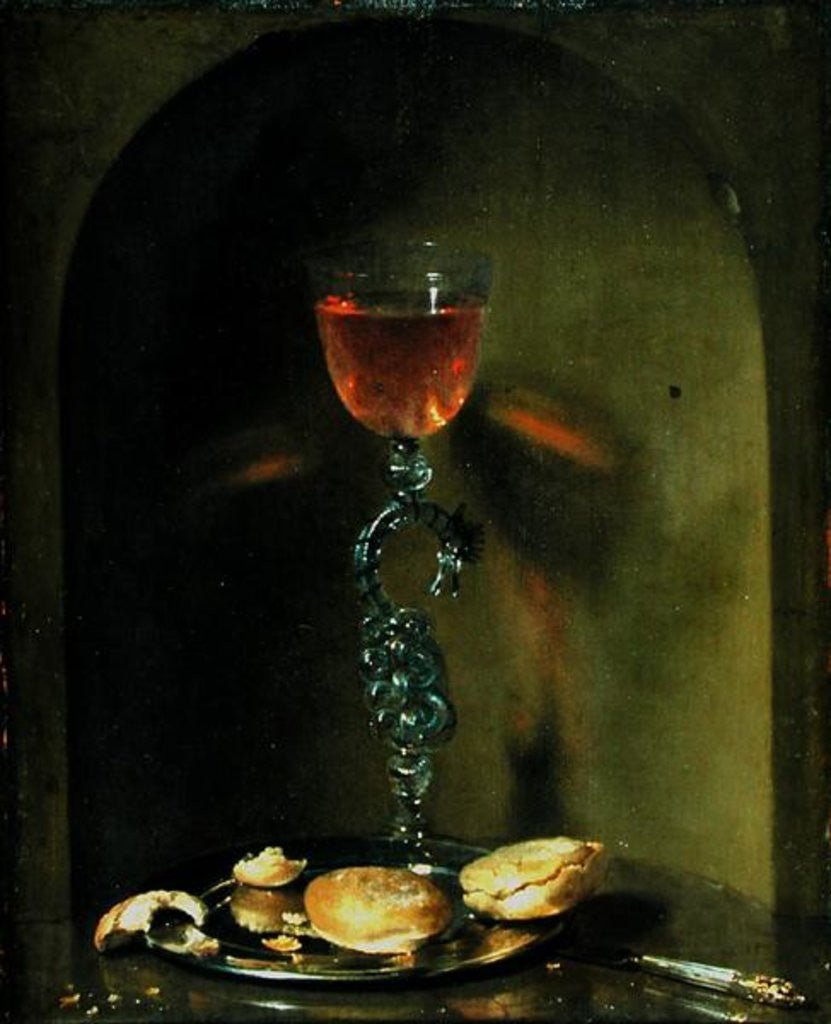 Detail of Still Life with Bread and Wine Glass by Isaac Luttichuys
