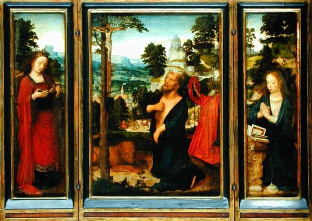 Detail of Triptych with St. Jerome, St. Catherine and Mary Magdalene by Adriaen Isenbrandt or Isenbrant