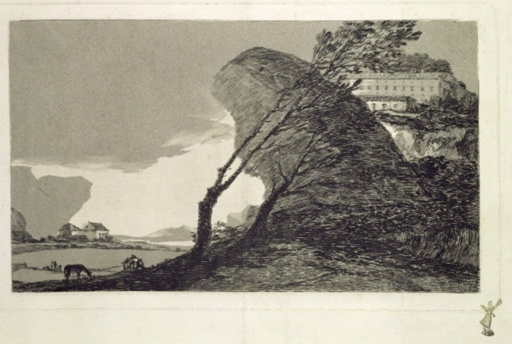 Detail of Landscape with Large Rocks, Buildings and Trees, before 1810 by Francisco Jose de Goya y Lucientes