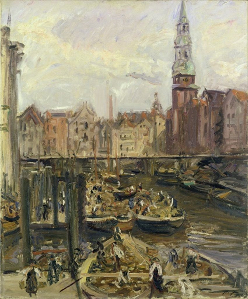 Detail of Floating Market on a canal in Hamburg by Max Slevogt