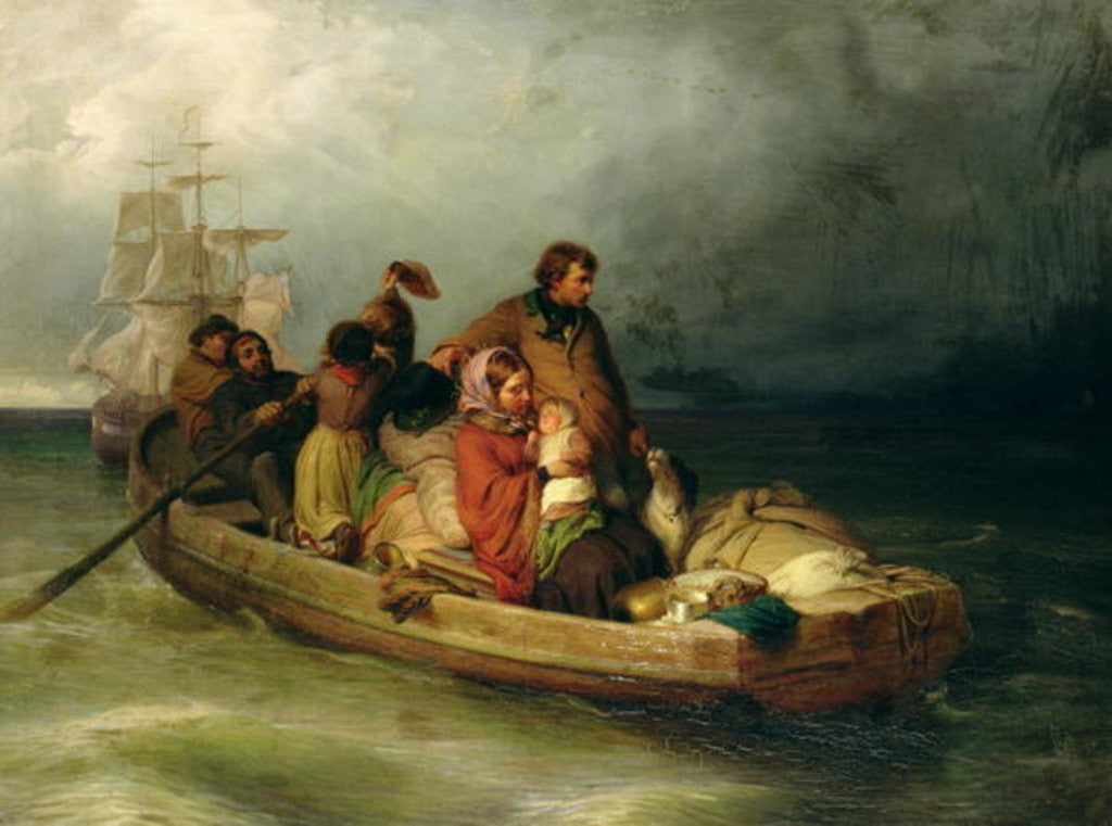 Detail of Emigrant passengers on board by Felix Schlesinger