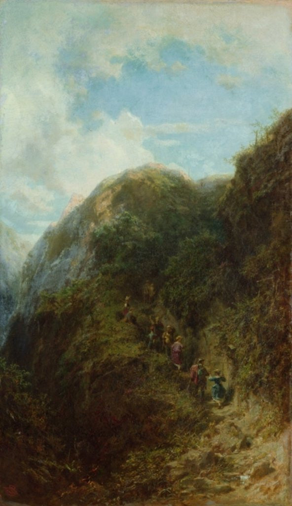 Detail of Tourists in the Mountain by Carl Spitzweg