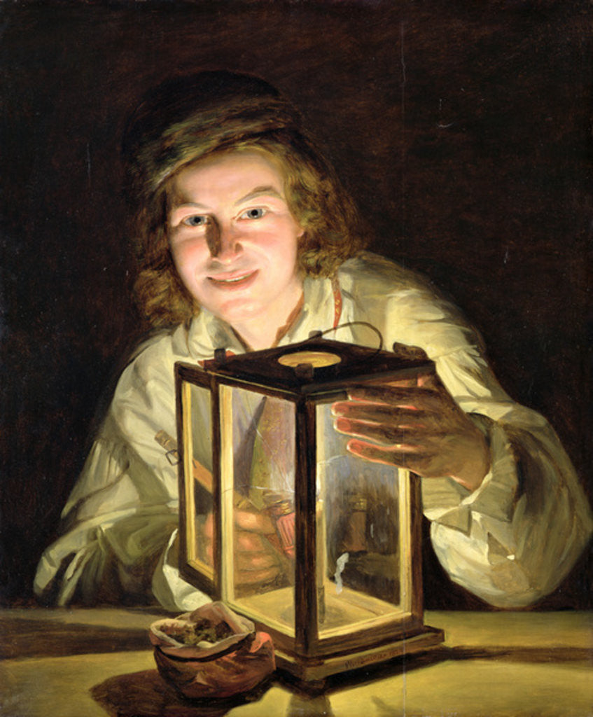 Detail of The Young Stableboy with a Stable Lamp by Ferdinand Georg Waldmuller