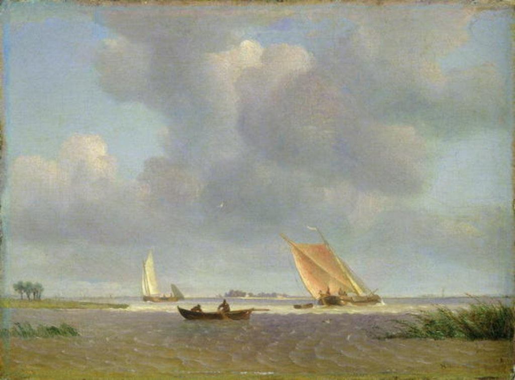 Detail of A fresh breeze on the Elbe by Adolf Vollmer