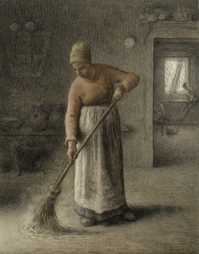 Detail of A Farmer's wife sweeping by Jean-Francois Millet