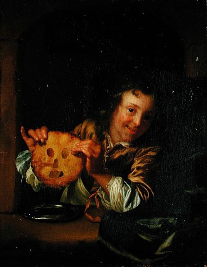 Detail of Boy with Pancakes by Godfried Schalcken