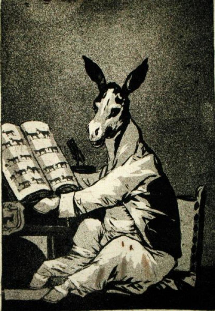 Detail of As Far back as his Grandfather, plate 39 of 'Los Caprichos' by Francisco Jose de Goya y Lucientes
