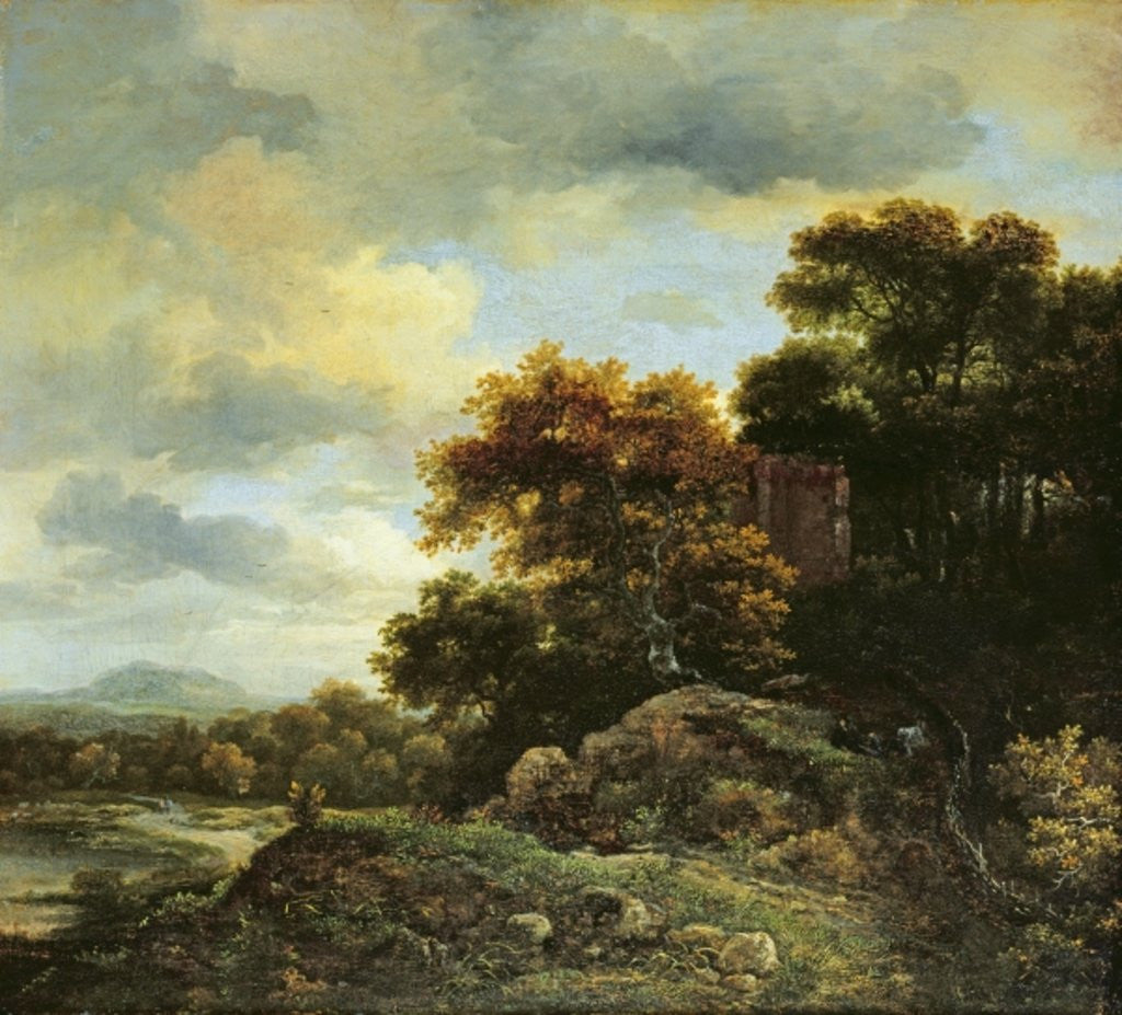 Detail of Landscape with Wooded Hillock by Jacob Isaaksz. or Isaacksz. van Ruisdael