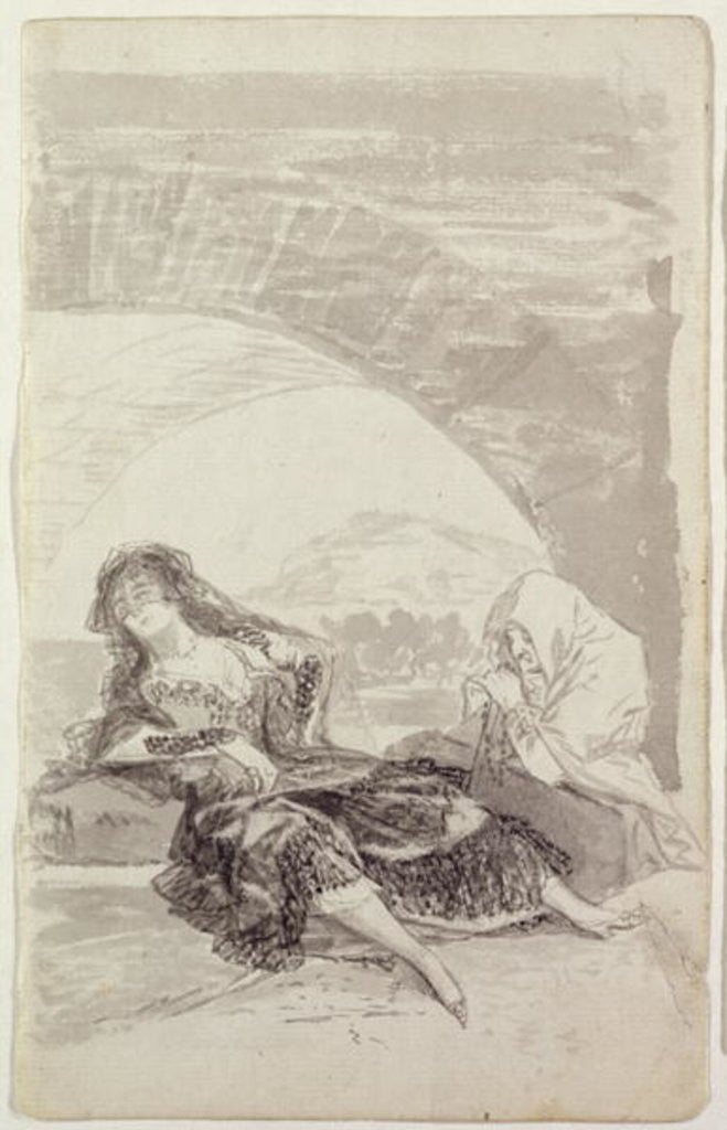 Detail of Maja and Celestina under an arch by Francisco Jose de Goya y Lucientes