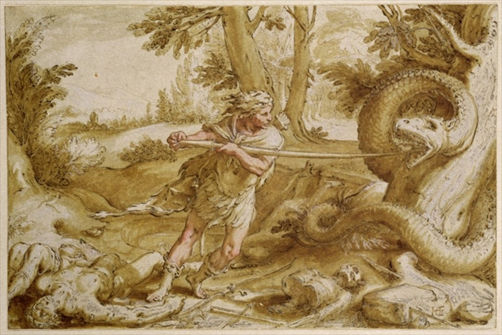 Detail of Cadmus about to attack a Dragon by Hendrik Goltzius