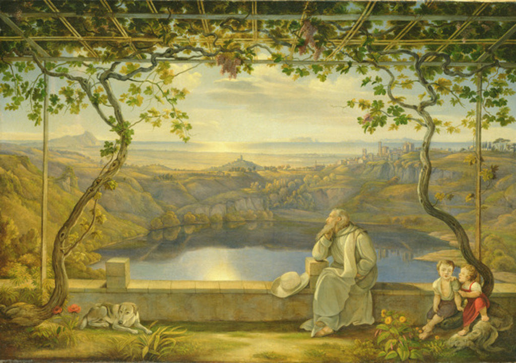 Detail of A Monk on a Terrace at the Nemi Lake by Joachim Faber