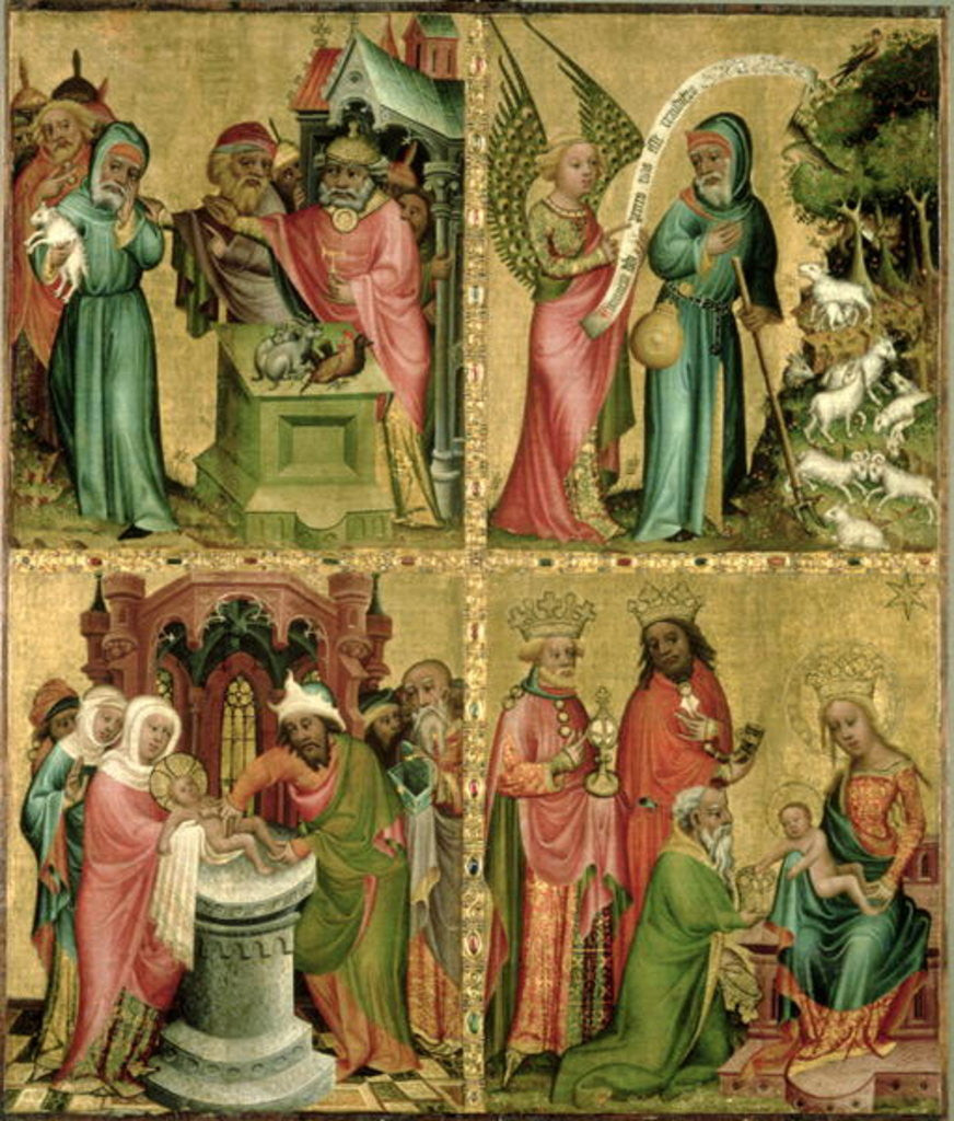 Detail of Joachim's Sacrifice, the Circumcision of Christ, the Annunciation to St. Joachim and the Adoration of the Magi by Master Bertram of Minden