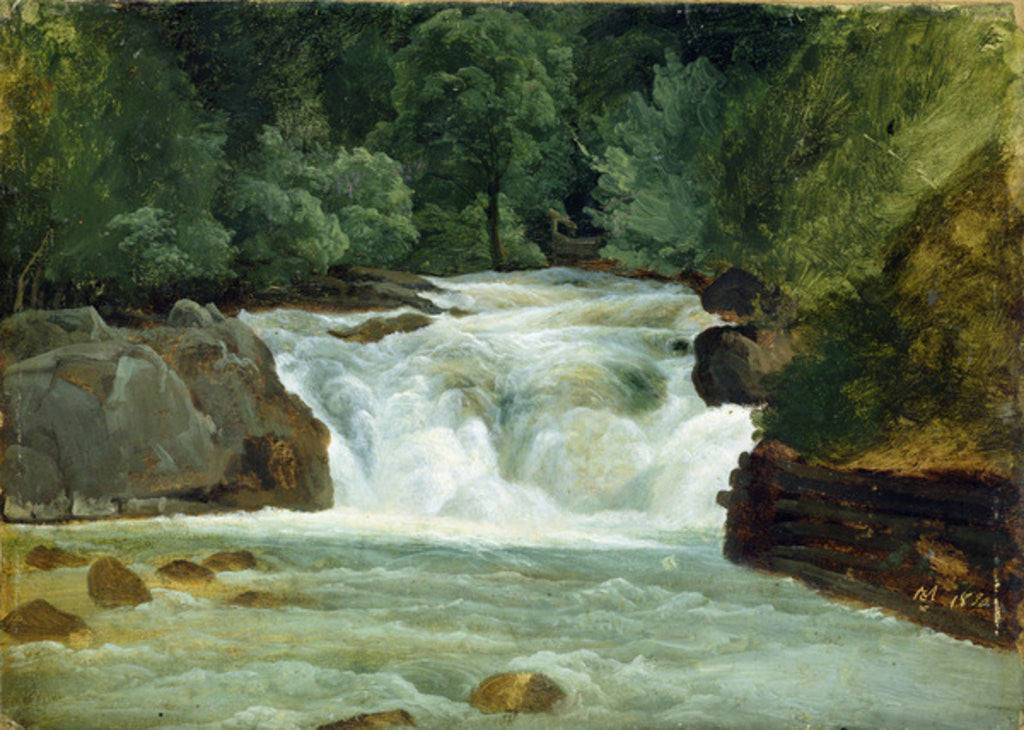 Detail of A Waterfall in Upper Bavaria by Christian Ernst Bernhard Morgenstern