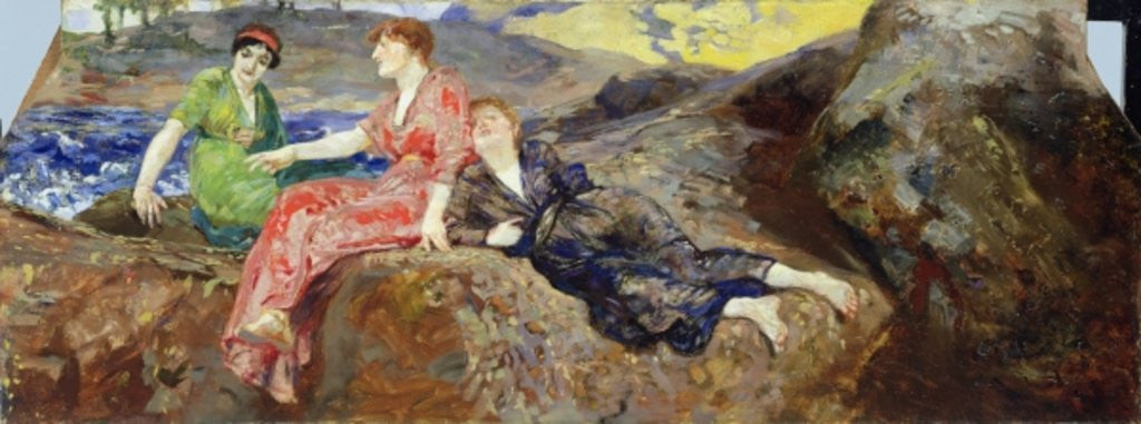 Detail of Girls on the Shore by Max Klinger