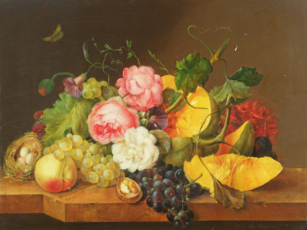 Detail of Still life with Flowers and Fruit by Franz Xavier Petter