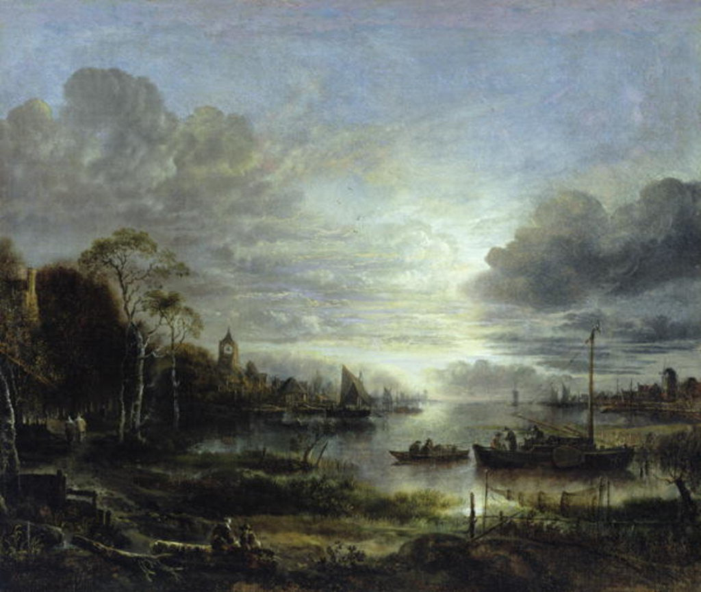 Detail of Landscape in Moonlight by Aert van der Neer