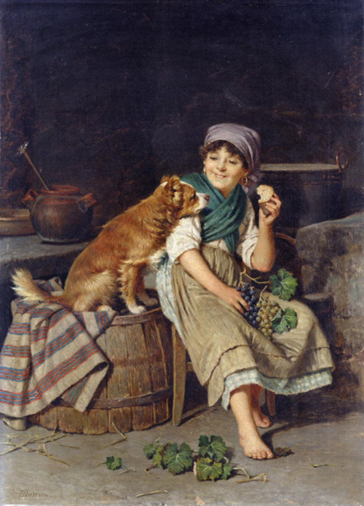 Detail of Girl with Dog by Federico Mazzotta
